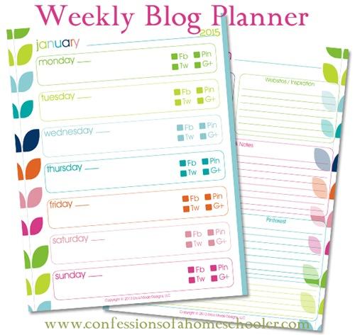 Printable Monthly Planner 2015: 2015 Weekly Blog Planner