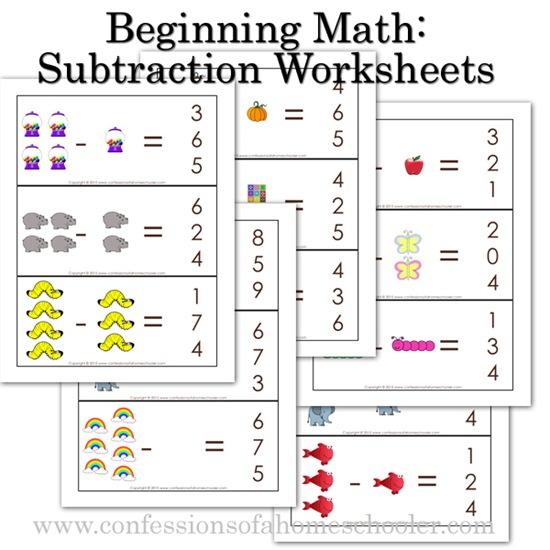 k4 kindergarten beginning math subtraction worksheets confessions of a homeschooler. Black Bedroom Furniture Sets. Home Design Ideas